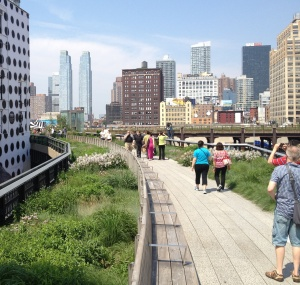 "New York's newest park - the ""High Line"" An abandoned elevated train track became a garden and an alternate walking route through the city."